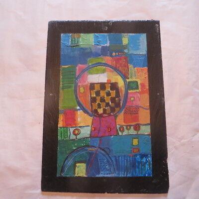 Peinture à l'huile sur ardoise  Hauteur : 31,8 cm Largeur : 22 cm Poids : 731 g