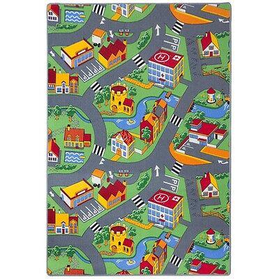 Teppich Kinderteppich Straßen Spielteppich Straßenteppich 133 x 180 cm grau (19,