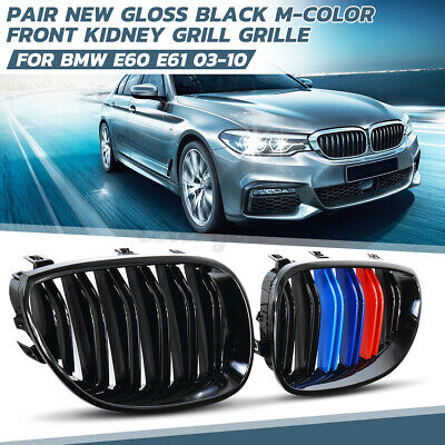M Color Kidney Grill Grille Gloss Black For BMW E60 E61 5 Series 03-2010
