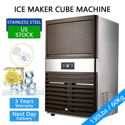 130lbs Built-in Commercial Ice Maker Undercounter Restaurant Ice Cube Machine Us