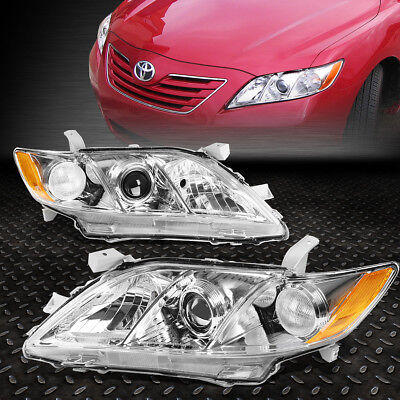 FOR 2007 2009 TOYOTA CAMRY CHROME HOUSING AMBER CORNER PROJECTOR HEADLIGHTLAMP
