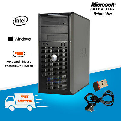 Fast Dell Desktop Home PC 780 Tower Computer Intel CPU C2D 8GB RAM 500GB Windows