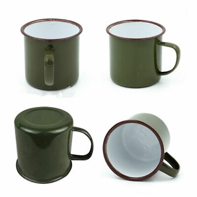 Vintage Style Enamel Cup Mug for Drinking Coffee Bear Tea Camping Hiking 240ml