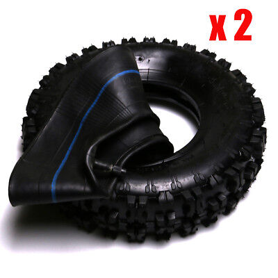 Pack 2 Tires 4.10-6  3.50-6 Tubes Lawn Mower Golf Cart ATV Go Kart On Off Road