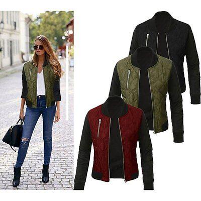 Fashion Ladies Women Long Sleeve Zipper Coat Jacket Short Coat Casual Outerwear