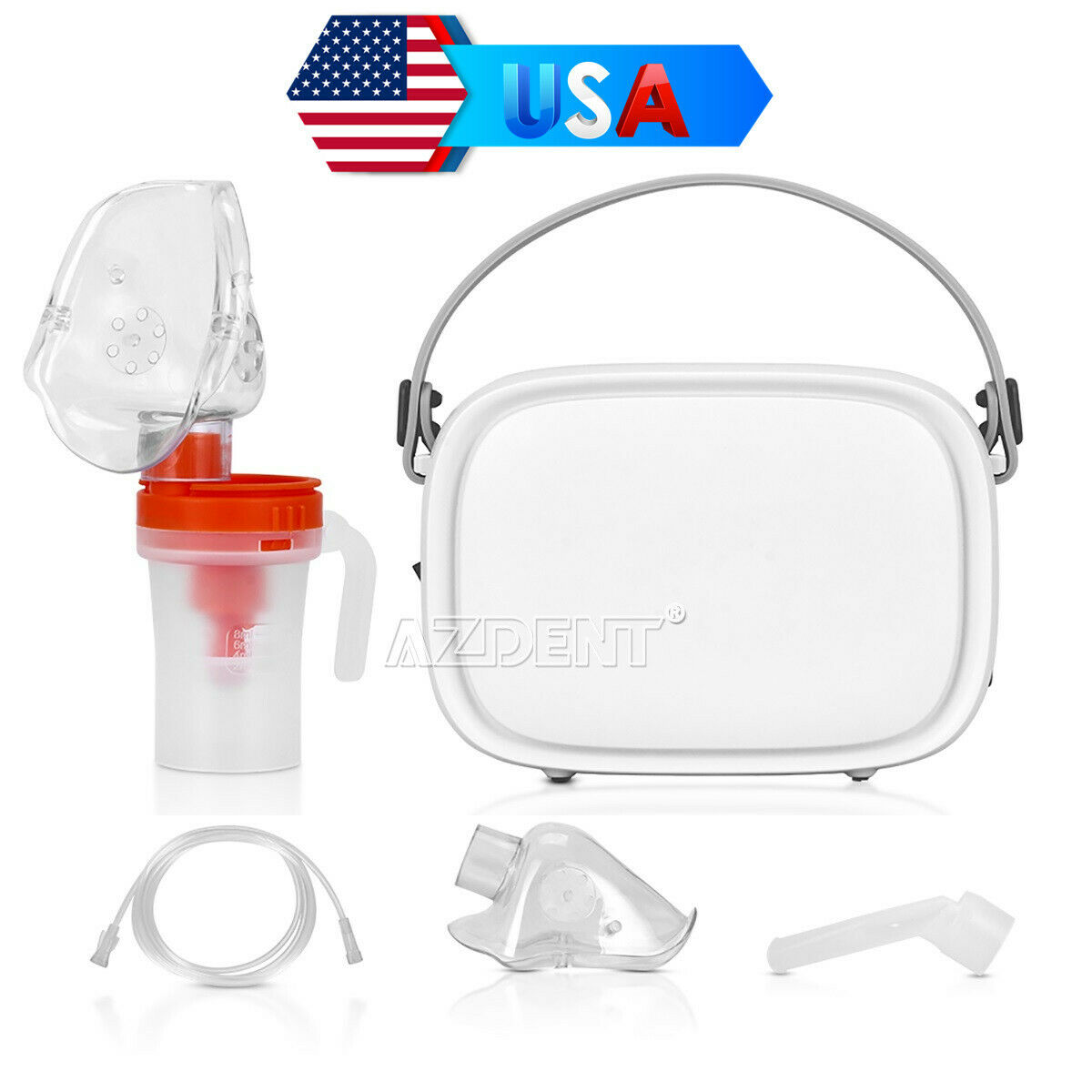 Portable Travel 2 Masks Compressed Ultrasonic Nebulizer Inha