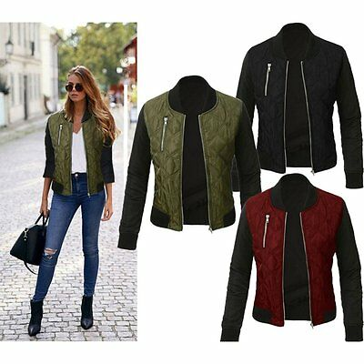 Fashion Ladies Women Long Sleeve Zipper Tops Jacket Coat Casual Slim Outerwear