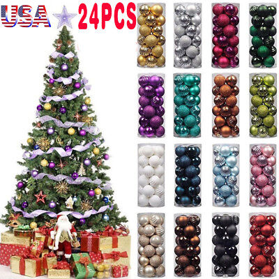 24 Pcs Christmas Baubles Ornament Ball Xmas Party House Tree Decorations 30mm