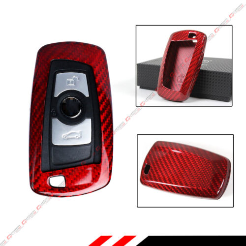 LUXURY RED CARBON FIBER SNAP ON CASE FOR BMW 1/2/3/4/5/6 SERIES KEY FOB REMOTE