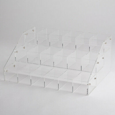 Clear Acrylic 3 Tier Shelves Countertop Display Plexiglass Riser With 18 Bins