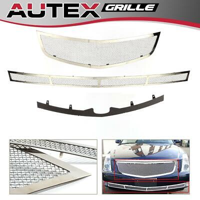 Chrome S/S Mesh Grille Grill Insert Upper & Lower Bumper Fits Cadillac DTS 06-10