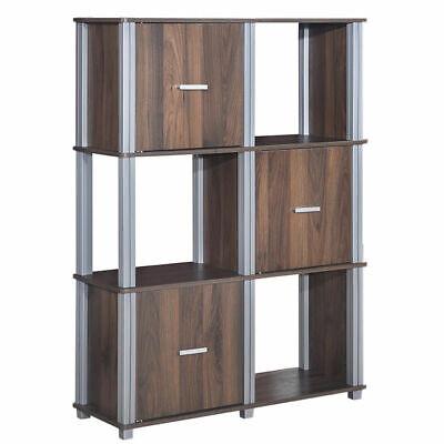 3 Tiers 6 Cubes Storage Cabinet Shelf Organizer Unit Display Bookcase W/3 Door