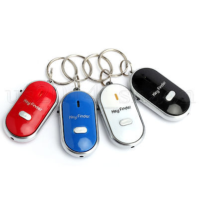 4Pcs Lost Key Finder Whistle Sound Control Led Seeker Alarm Locator Tracker