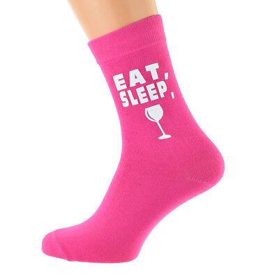 Eat Sleep Drinking with Wine Glass Image Printed on Ladies Hot Pink Socks ()