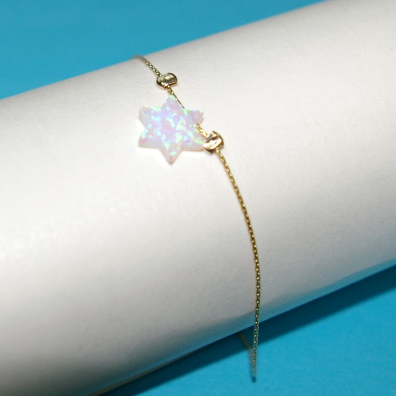 3 pcs White OPAL Star of David Charm BRACELETS with 14kt Gold Filled Fine Chains