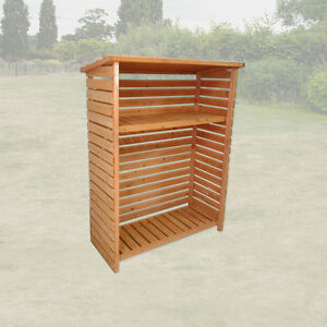 LARGE WOOD STORE FIREWOOD WOODEN OUTDOOR GARDEN LOG STORAGE SHED WITH SHELF