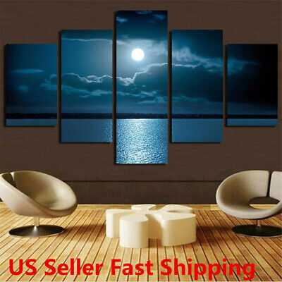 Modern Abstract Wall Decor Art Moon Sea Oil Painting Canvas Painted   US o US!