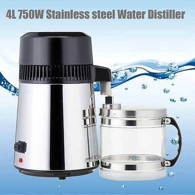 1Gal 750W 4L Pure Water Distiller All 304 Stainless Steel Internal With Glass