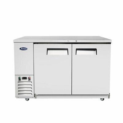 58 Back Bar Cooler Refrigerator On Wheels 2 Door Cans Bottles Soda Beer Nsf