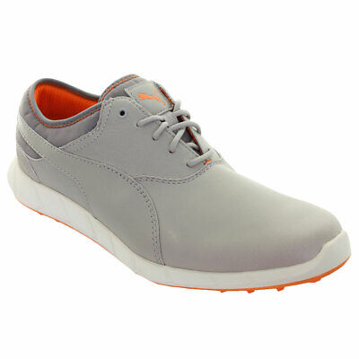Puma Golf Mens IGNITE Spikeless Leather Golf Shoes - Drizzle/Vibrant Orange -