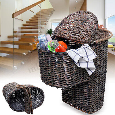 Wicker Handwoven Stair Step Storage Box Basket Container Carry With Handle  Stair Step Basket