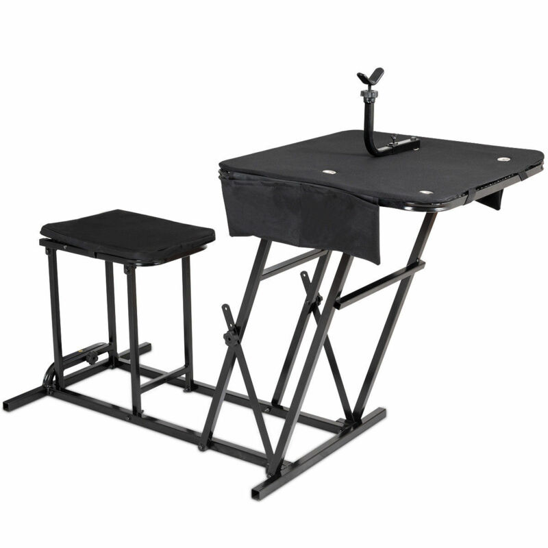 Folding Shooting Bench Seat with Adjustable Table Gun Rest Height Adjustable