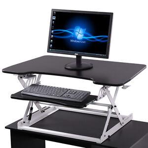 adjustable height stand up desk computer workstation lift rising laptop bu0026w
