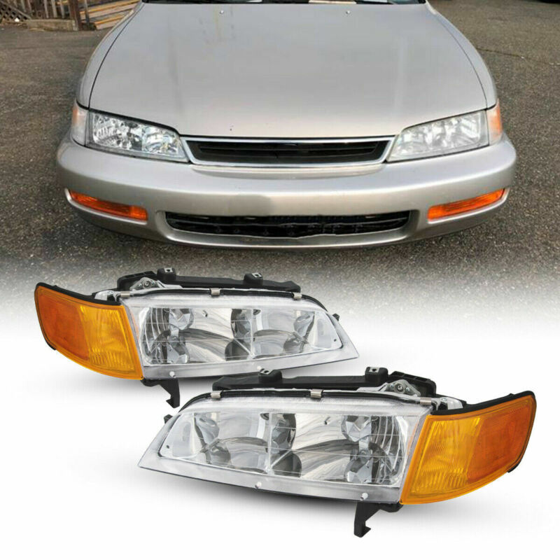 Pair Headlamps For 1994-1997 Honda Accord Left + Right Front Headlights Assembly