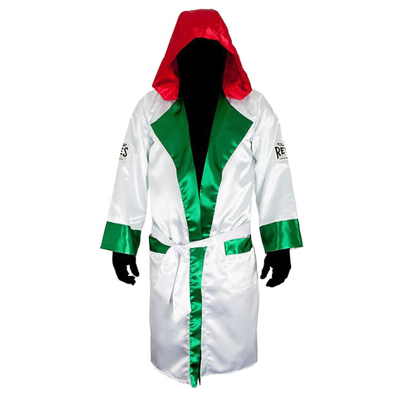 Cleto Reyes Satin Boxing Robe with Hood - Mexican Flag