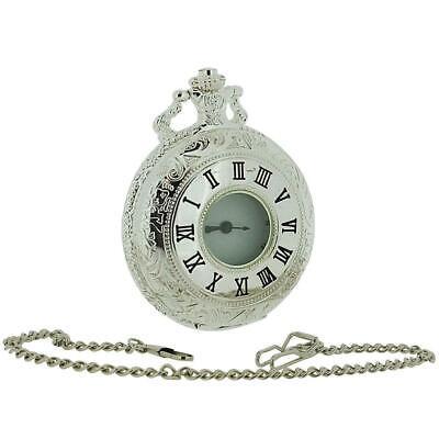 Jakob Strauss Color Plata Abierta Ventana Hombre/Mujer Bolsillo Reloj + 30.5cm