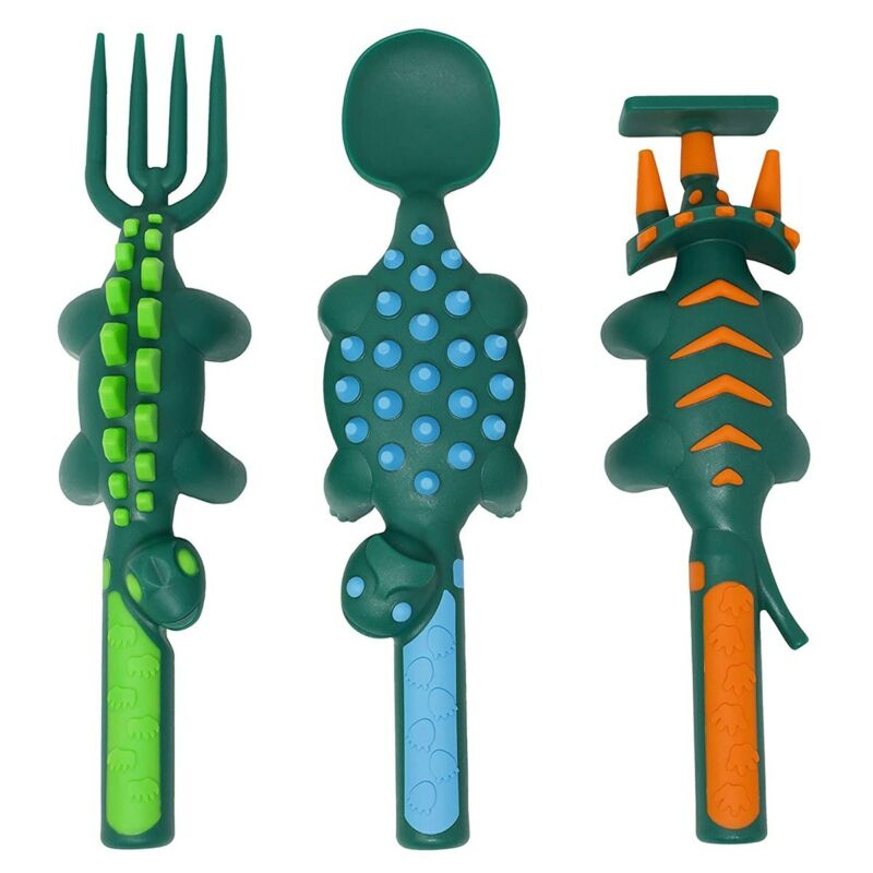 Constructive Eating Toddler Sized Dinosaur Shaped Utensils - Spoon, Fork and