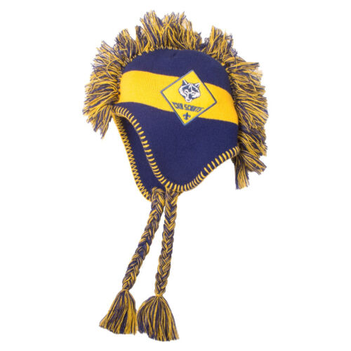 Official Boy Cub Scout Logo Mohawk Beanie Youth Cap Hat Blue and Gold Brand New