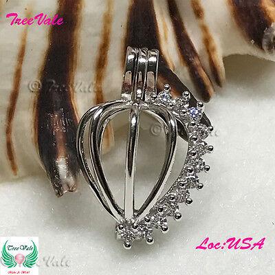 Stone Heart Pearl Cage Pendant - 925 Sterling Silver - Fun Gift!!](Silver Rock)