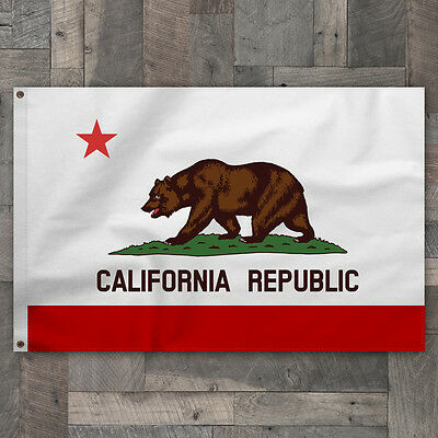 100% Cotton 2x3 Sewn Stripe California Republic State Flag Pennant Made in USA
