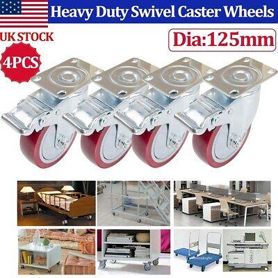 4 Pack 5 Inch Heavy Duty Swivel Caster Wheels Furniture Trolley Castor Brakes Us