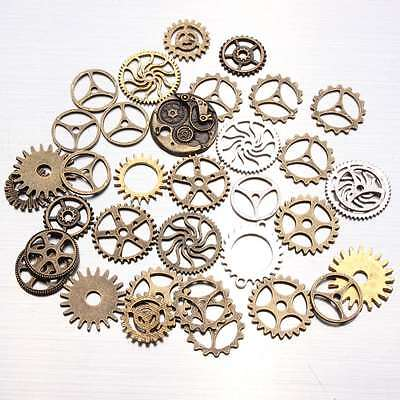 100g Mix Bronze Silver Gold Steampunk Cogs Gears Charm Watch Parts Altered Craft