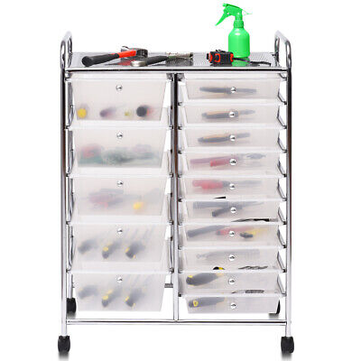 15 Drawers Rolling Storage Cart Tools Scrapbook Cosmetics Paper Organizer Home