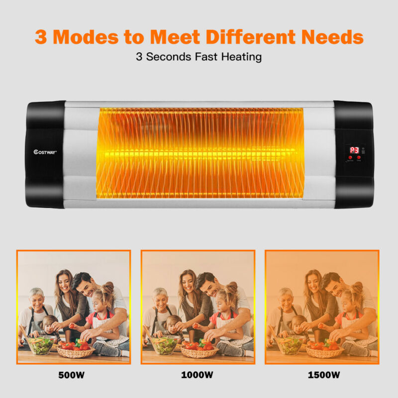 1500w Infrared Patio Heater W/ Remote Control & 24h Timer Indoor & Outdoor