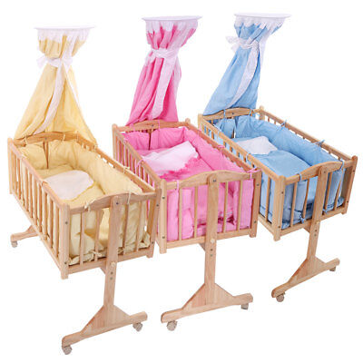 Pine Wood Newborn Baby Toddler Bed Cradle Nursery Furniture Safety