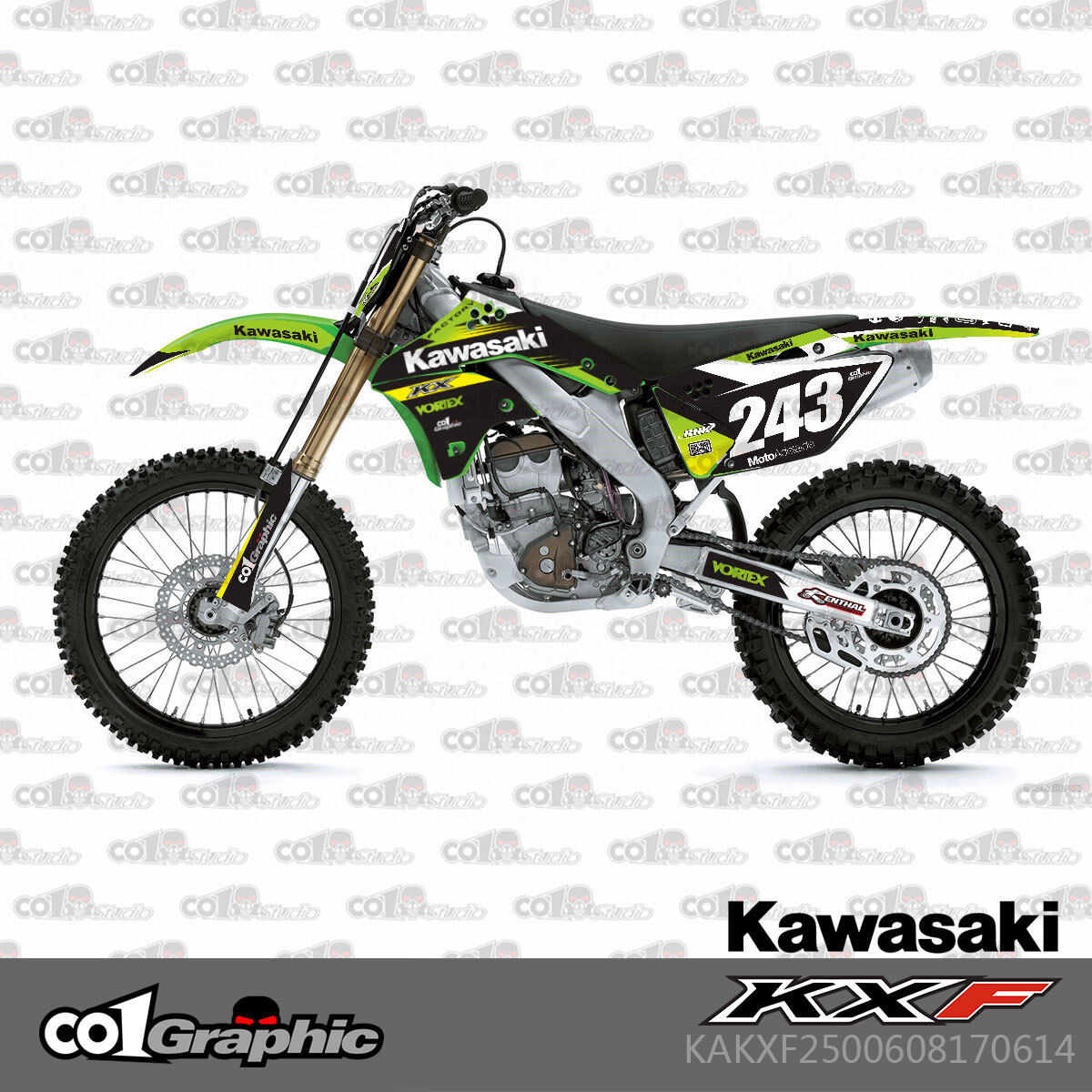 2006 2007 2008 KXF 250 GRAPHICS KIT KAWASAKI KX450F KXF 250F DECALS MX ISLAND