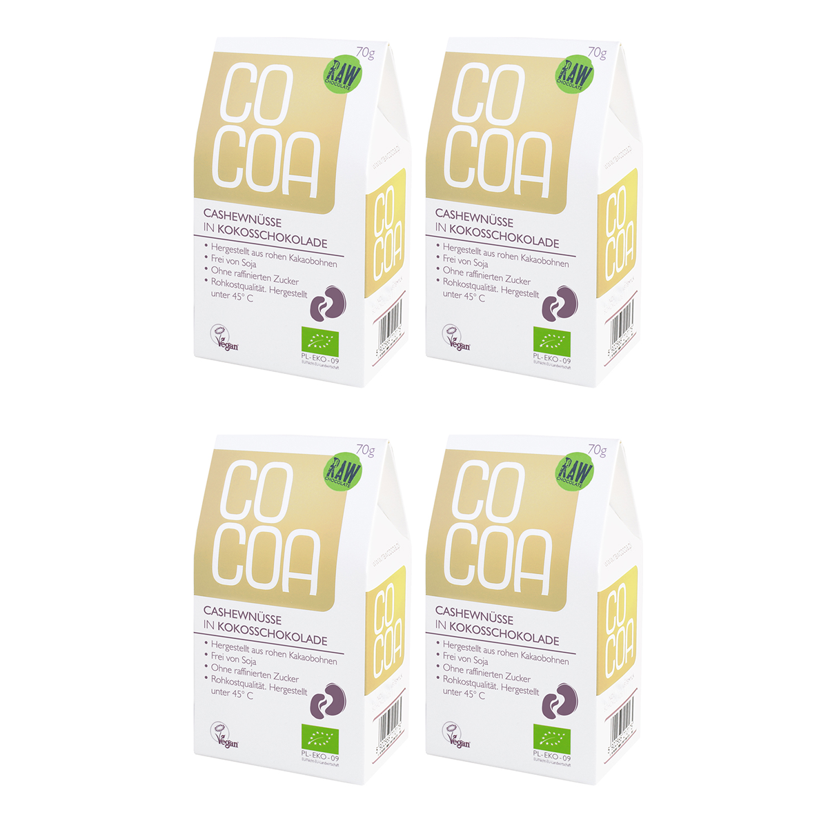 Raw Cocoa Bio Schokonüsse Cashewnüsse in Kokosschokolade, 4 x 70 g, Ungeröstet