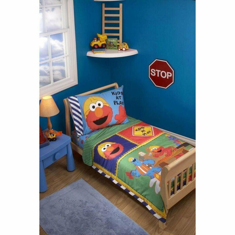 Sesame Street Construction Zone 4 Piece Toddler Bedding Set