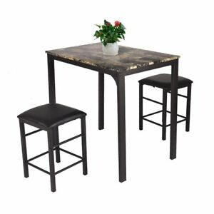 3 PCS Table Set Faux Marble Counter Home Kitchen Bar Dining Table With 2  Stools(