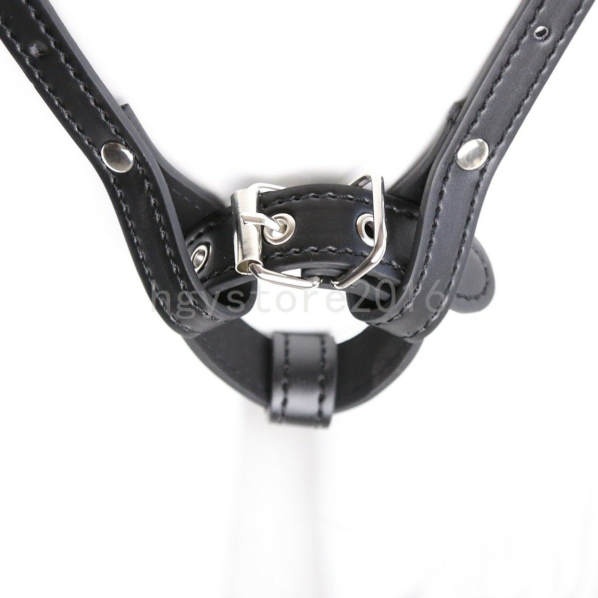 Magic Wand Massager Holder Strap on Harness Panties Thong PU-Leather Restraint