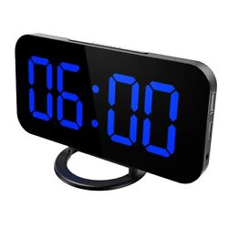 Digital USB Electric Led Alarm Clock With Phone Wireless Charger Table Desktop