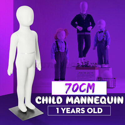 70cm Unisex Child Full Model Body Mannequin Dress Form Clothes Display W Base