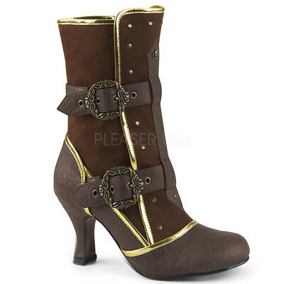 Gold Costume Boots (Brown Gold Steampunk Renaissance Fair Burner Victorian Womans Costume)