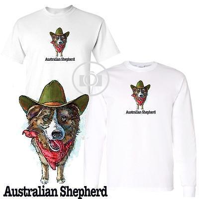 Australian Shepherd Fun Dog Breed Cartoon Short Long Sleeve White T Shirt M 3X