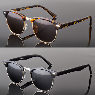 Polarized Anti Glare Sunglasses Women's Men's Vintage Designer Metal Half (Adult Polarized Designer Sunglasses)