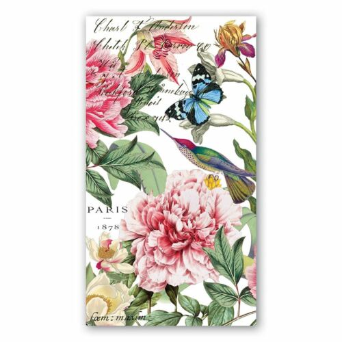 Michel Design Works 15 Triple-Ply Paper Hostess Napkins Pink Peony Floral  NEW
